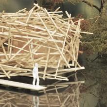 [12] Nids d'observation: Cabanon prenant comme référence le nid de la poule d'eau, ou nid de Grèbe: entre rivage et fil de l'eau. Projet Habitat-nature — JKA + FUGA