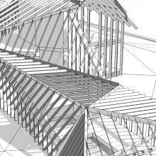 [7] Structure plissée/réticulée: Projet de maison secondaire dans la Somme - Poutraison Kerto-S /connecteurs métalliques