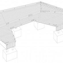 [6] Axonométrie des pièces de bois.Le bois recyclé est entretoisé.