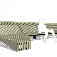 [10] La structure metallique est placée en retrait.Perception d'une surface pliée.